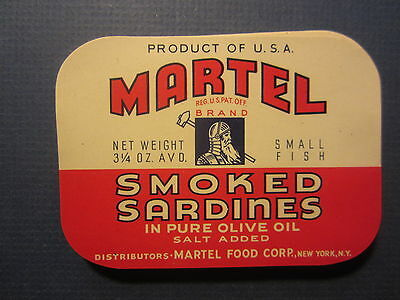 Wholesale Lot of 100 Old Vintage - MARTEL - Smoked SARDINES - LABELS - N.Y.