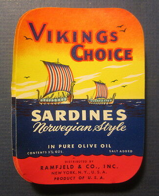 Wholesale Lot of 100 Old Vintage - VIKINGS CHOICE - SARDINES - LABELS - N.Y.