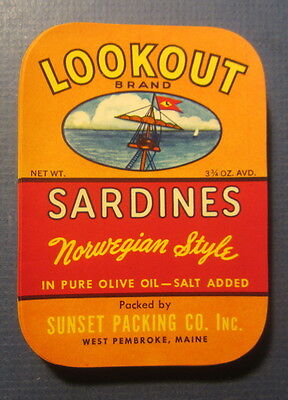 Wholesale Lot of 100 Old Vintage - LOOKOUT - Ship - SARDINES LABELS - MAINE