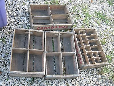 4 pcs Vintage Original Canada Dry Soda Wood Carrier Box Crate