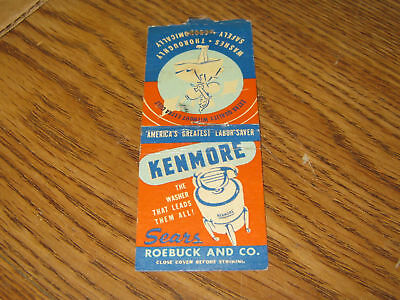 Vintage Kenmore Sears Roebuck And Co.Matchcover