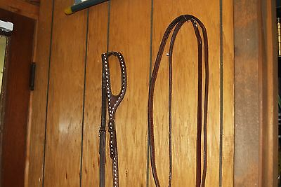 Vintage Buckstitched Horse Bridle and Reins