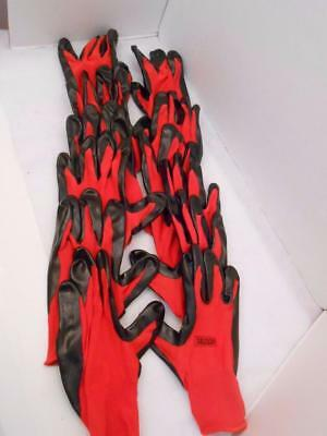 Grease Monkey Nitrile Coated Work Gloves Size Large x 6 Pair Red & Black New