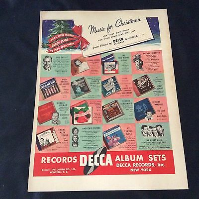 1942 Decca Records Music For Christmas Print Ad