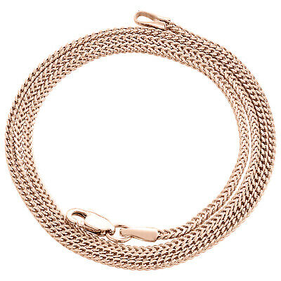 Real 10K Rose Gold 3D Hollow Franco Box Link Chain 1.50mm Necklace 18-26 Inches