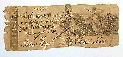 BARGAIN 10/30/1830 Obsolete Mohawk Bank Schenectady, NY $3 Counterfeit Note GOOD