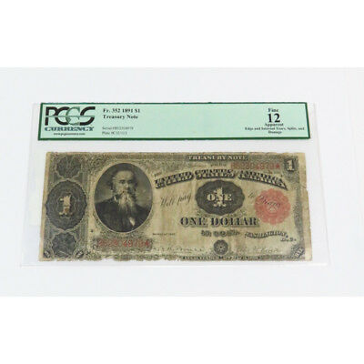 Fr. 352 1891 $1 Treasury Note Fine 12 Apparent Plate #C 12/113