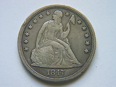 1847 $1 Liberty Seated Silver Dollar High Grade Bold Liberty Rare Early Date