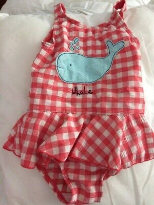 Next Girls Swimsuit 18-24 Months Red White Gingham Effect VGC Whale