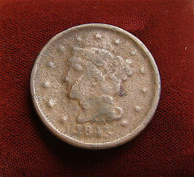 Large Cent~~~~1845~~~~~corroded~~~poor