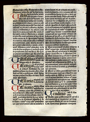 1492 Incunable Leaf Summa Angelica Civil & Canon Law 7 Handcolored Letters