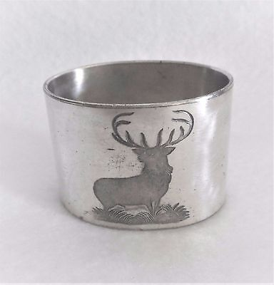 "Silver Plate Napkin Ring 1 1/2"" by 2"" Oval  Moose Etching"