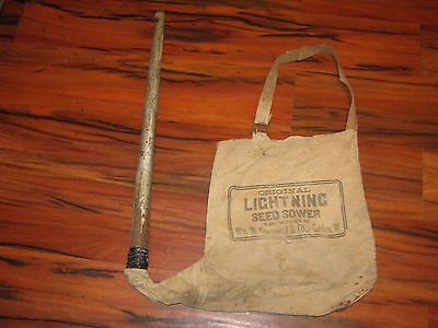 Vintage Lightning Seed Sower Gronewold Golden ILL Canvas Cloth sack good decor