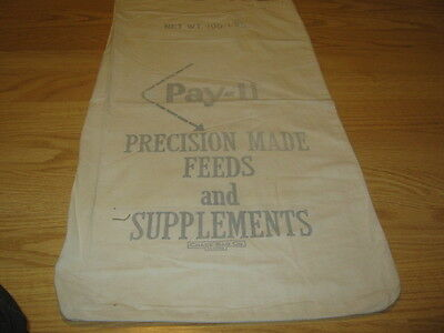Vintage Pay-U Precision Made Feeds and Supplements Cloth Sack