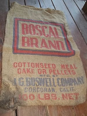 Vintage Rascal Brand Cottonseed Meal J. G. Goswell Co Corcoran Calif burlapSack
