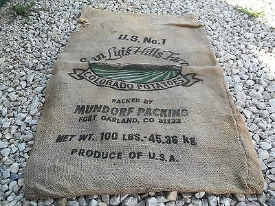 Vintage ? San Luis Hills Farm Colorado Potatoes Mundorf Fort Land Burlap sack