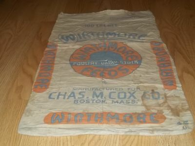 Vtg Wirthmore Poultry Dairy Chas M Cox Boston MASS sack