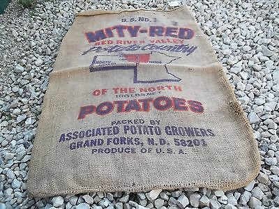 Vintage ?? Mity - Red Potato Country of the North Grand Forks N. D. Burlap sack