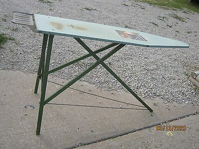 With Iron Rest Vintage Rid - Jid Green Metal Mixed & Wood Ironing Board Table
