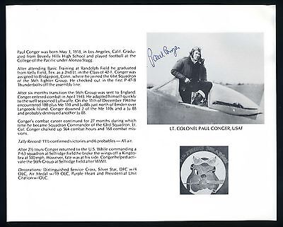 Paul Conger DECEASED WWII Fighter Pilot Ace-11.5V Signed 8x10 Bio Photo T2180