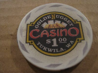 Vintage Golden Nugget Casino Tukwila WA One Dollar $1 Casino Chip