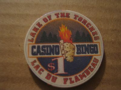 Vintage Lake Of The Torches Casino Bingo Lac Du Flambeau $1 Casino Chip