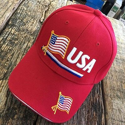 RED USA Amerian Flag Baseball Cap Adjustable HAT UNITED STATES OF AMERICA -W