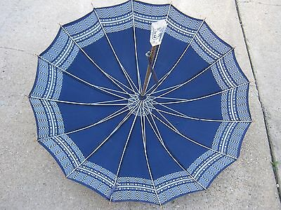 Antique Vintage Used Blue Umbrella Parasol good for decor