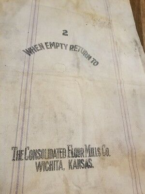 Vintage Consolidated Flour Mills Wichita  Kansas Bakers Bag Bemis Cloth Sack