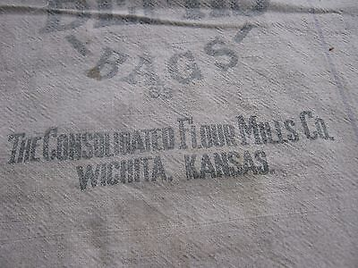 Kansas Vintage The Consolidated Flour Mills Wichita  Kansas Heavy Cloth Sack