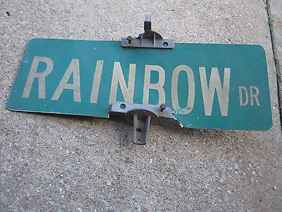 Vintage Aluminum Retired Street Sign Rainbow DR good for decor