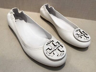 Tory Burch Reva Flats Off White Pebbled Leather with Medallion Size 8.5M