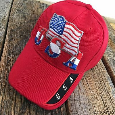 RED USA American Flag WAVE RED, WHITE, BLUE Baseball Cap HAT NEW -W
