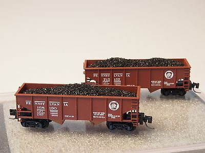 Full Throttle Z-scale  2each PRR Pennsylvania Twin Bay Hopper SET #3 MTL Coupler