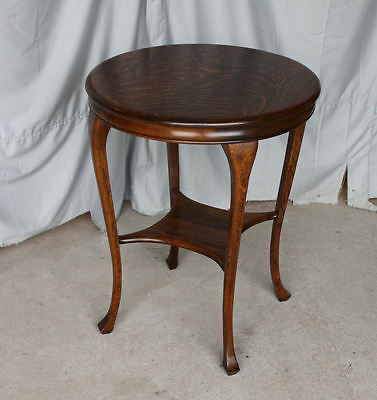Antique Oak Round Parlor or Lamp Table