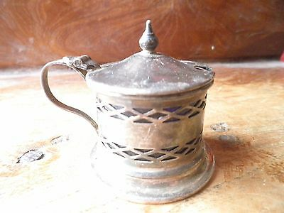 Vintage mustard pot, silver plated with blue glass liner