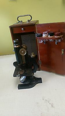Antique Bausch & Lombe Microscope With Wooden Case