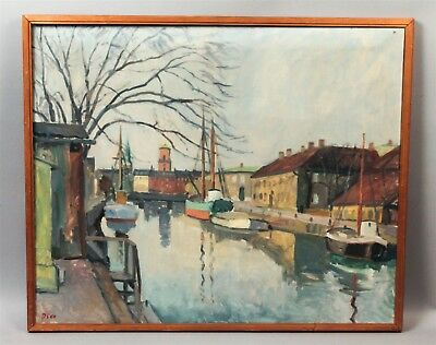 Fine Estate Signed 1950s Northern European Canalscape Oil Painting on Canvas