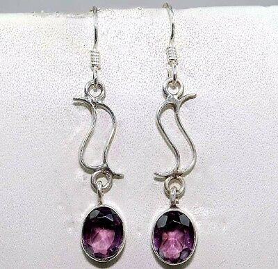 2CT  Natural Amethyst 925 Solid Sterling Silver Earrings Jewelry, S3-6