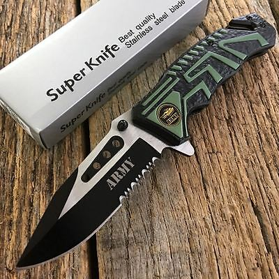 "8"" ARMY New US Military Spring Assisted Open Rescue Pocket Knife Tactical -W"