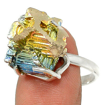Bismuth Crystal 925 Sterling Silver Ring Jewelry s.9 RR52652