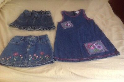 Lot Of Toddler Girls Clothes ~ Skirts & Romper Dress ~ Denim ~ Size 3T ~ EUC