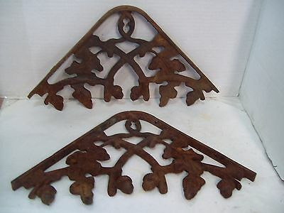 "2 Large Vintage Cast Iron Ornate Shelf Brackets Oak Leaf Acorn 12"" Architectural"