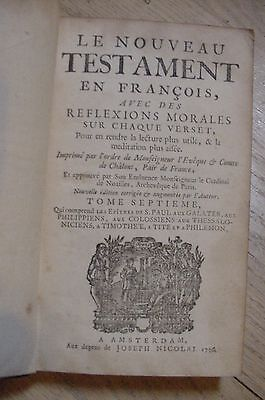 1736 Incomplete French Bible Set Le Nouveau Testament Printed Amsterdam Leather