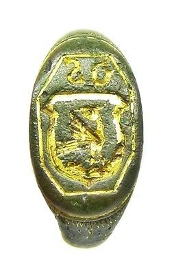 Wonderful 16th century Renaissance Gold Gilt Signet Ring Armorial Phoenix Size11