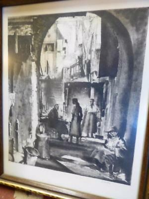 antique signed Earl Horter 1881-1940 etching print The Kitchen, New Orleans