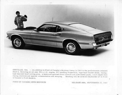 1969 Ford Canada Mustang Mach I ORIGINAL Factory Photo oub6730