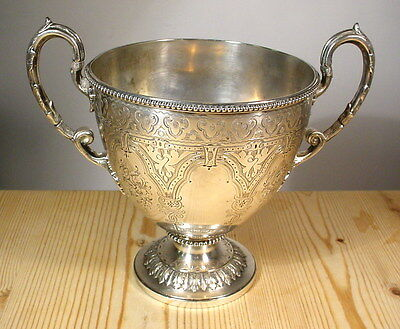 Antique Martin Hall & Co. Gothic Silver Plate Goblet 1854