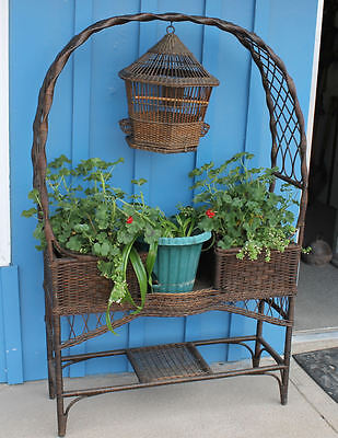 Antique Wicker Fancy Plant Stand with Hanging Bird Cage