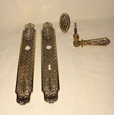ANTIQUE PAIR SET BRONZE DOOR PULL HANDLES w/ KEY HOLE PLATES (4 PCS IN TOTAL)